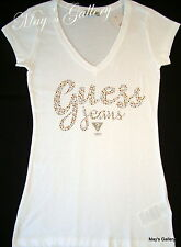 GUESS Jeans  Rhinestones   Tank T-shirt Tee T shirt  Top Blouse White  NWT  S