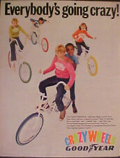 "1969 Good Year""CRAZY WHEELS""Bicycle Tires Red~Blue~Yellow~Orange~Green Print Ad"