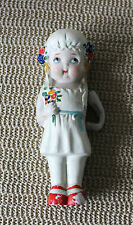 Vintage Early Ceramic Porcelain Baby Doll Girl with Flowers Japan Jointed Arm