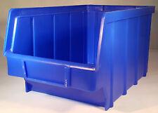 15 Stapelboxen PP Kunststoff Gr.3 blau Sichtlagerkästen Stapelkästen Lagerbox