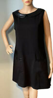 Henry Holland Womens Shift Dress Faux Leather Trim Pockets UK Size 12 Black New