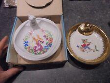 2 / Assiette à Bouillie de Bébé Porcelaine Limoges et Autre : Joueur de Fifre