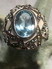 Sterling Enameled Multi Gemstone Blue Topaz Ring Size 8