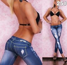 New Sexy Jeggings Leggings Jeans Size 8-12  Fashion Denim Print Buy Now UK STOCK