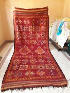 Vintage Old Carpet Moroccan Berber Rug Oriental,11.4 x 4.9 ft
