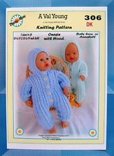 DOLLS KNITTING PATTERN for a ONESIE  2 sizes DAISY MAY No 306 16-17 18-19 inch