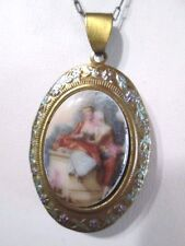 VINTAGE OLD BRASS LOCKET PORCELAIN LOVERS COURTING COUPLE ENAMEL CHAIN GERMANY