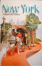 UNITED AIRLINES NEW YORK 1971 Vintage Travel poster 25x40 NM