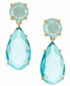 NWT Kate Spade HERE COMES THE SUN topaz blue Gold/Faceted Stone Drop Earrings