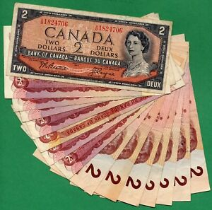 $30.00 Face value of  1954 1974 1986 2 dollar notes Two Dollars Canada