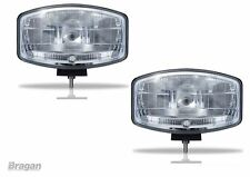 """2x 12v 9.5 """" Jumbo Ovale Noir ABS Lampe Spot + LED Camionnette 4x4 Pick-Up"""