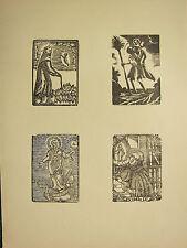 Imagen Religiosa Antigua xilografía impresión ~ Gótica Medieval Santos San Cristóbal