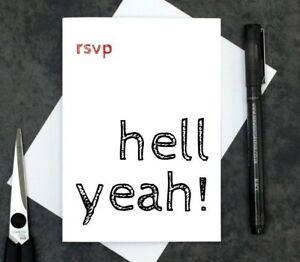 funny reply card - funny RSVP card - wedding acceptance card - party acceptance