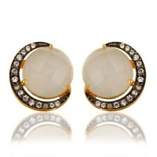 White Moonstone CZ 18K Gold Plated 925 Sterling Silver Stud Earrings Jewelry