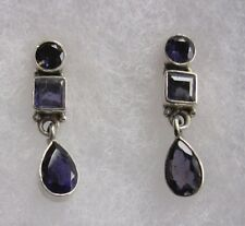 Pierced Stud Earrings , Set With  3 Iolites , Silver Marked 925 on Back