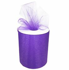 "TULLE ROLL SPOOL 6""x200 YDS (600 FT) TUTU WEDDING BOW GIFT CRAFT - Purple"