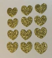 DIE CUTS SET OF 75 HEARTS GOLD GLITTER EMBELLISHMENTS, CARD & PARTY DECORATIONS