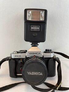 Vintage Yashica FX-D Quartz 35mm Camera ML 50mm 1:2 Lens CS-201 Flash Black