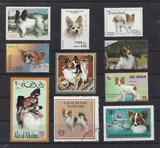 Dog Art Postage Stamp Collection Papillon 10 Different Head Body 9 Mnh 1 Cto