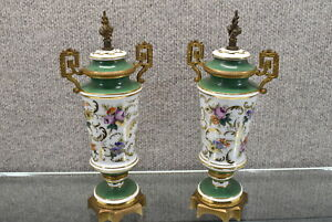 Antique Pair Sevres-Style Gold & Green Floral Lidded Urns