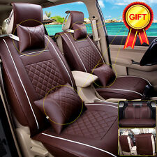 Size L PU Leather Car Seat Cover 5-Seats Front Rear W/Neck Lumbar Pillows Coffee