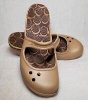 Womens CROCS Frances Wedge Heel Mary Jane Clogs Shoes Sandals -Beige Size 8W