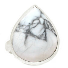 White Howlite 925 Sterling Silver Ring Jewelry s.7.5 WHOR350