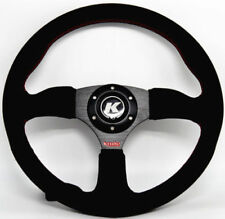 KODE-350mm Half Dish Suede Steering Wheel RED Stitching Fits MOMO OMP Boss Kit