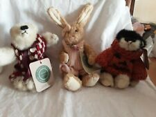 Lot 1 Vintage Boyd's Bear 1 Boyd's Rabbit and 1 Boyd's Cat all have tags Retired