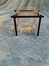 "Square Glass Votive Candle Holder 3.5"" tall x 3.25"" wide - rustic with stand"