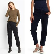 New VINCE 4 Military Pants Black Cargo Slim Leg Chino Cotton High Rise Women's