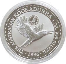 1996 Australia Swan River Privy Kookaburra $1 One Dollar Silver 1oz Coin