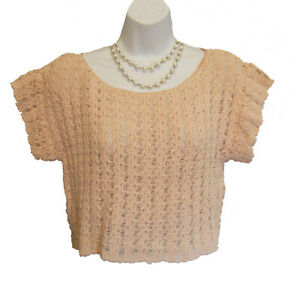 Artsy Cropped Sweater Top Size M L  Open Weave Blush Pink SPECIALTY HOUSE JAPAN