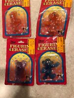 VINTAGE DISNEY ERASER FIGURINE MONOGRAM MICKEY And MINNIE Lot Of 4 !!! Rare
