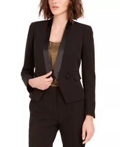 Bar III Women's Tuxedo Satin-Trim Open-Front Double-Blazer Black Size 12