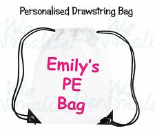 Back To School Personalised Drawstring Bag your own text/photo gym,PE kit,swim