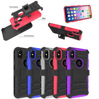 "For iPhone Xs X 5.8"" Shockproof Hybrid Heavy Duty Case Cover+Belt Clip Holster"