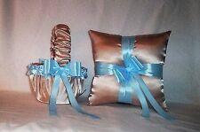 CHAMPAGNE SATIN / LIGHT BABY BLUE TRIM FLOWER GIRL BASKET & RING BEARER PILLOW
