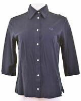SERGIO TACCHINI Womens Shirt 3/4 Sleeve Size 18 XL Navy Blue Cotton Slim  DN07