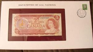 Banknotes of All Nations Canada 2 dollars 1974 UNC P 86a prefix UM