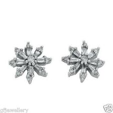 9CT HALLMARKED WHITE GOLD 0.35 CT GENUINE DIAMOND CLUSTER 10MM STUD EARRINGS