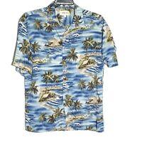 Campia Moda Mens Hawaiian Shirt Palm Trees Tiki Huts Blue Islands Size L #G-214