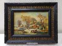 Romantik Winterlandschaft Ölbild Gemälde bez. Kaulfuß 1905/06 DEFEKT für Bastler