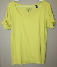 Women's Mng By Mango Yellow Roll Tab Sleeves Cotton Top Shirt Size Small EUC!