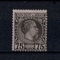 "MONACO STAMP TIMBRE N° 8 "" CHARLES III 75c NOIR SUR ROSE 1885 "" NEUF xx TTB W078"