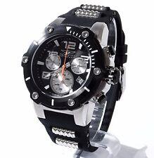 Invicta Black Silicone 51mm Stainless Steel Men Speedway Chronograph Watch 22235