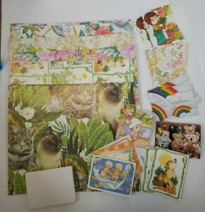 Vintage Current Gift Wrap & Cards Assorted Prints Occasions Flowers Cats Animals