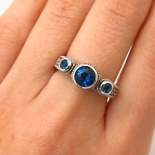 925 Sterling Silver White & Swiss-Blue Glass Ring Size 7