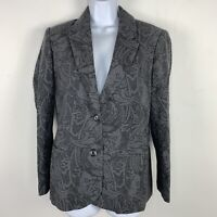 Chadwicks Boston Petite Womens Suit Blazer Sz 10P Gray Floral 2 Button Wool ZZ3