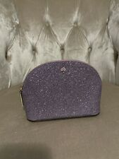 NWOT Kate Spade Burgess Court Small Dome Cosmetic Case Purse Purple Glitter New